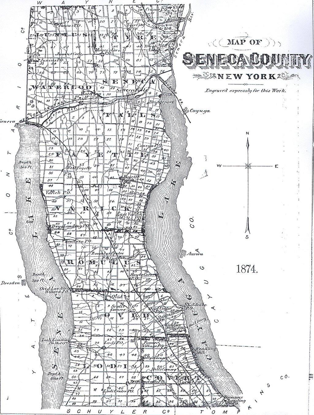 1804 NY New York MAP CAYUGA NASSAU ONONDAGA SENECA WAYNE History County    HUGE